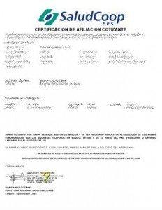 Certificado Saludcoop afiliacion