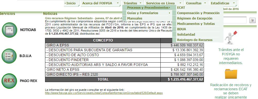 Tramites www.fosyga.gov.co